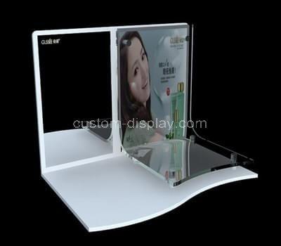 white acrylic makeup display stand