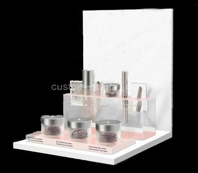 white acrylic cosmetic retail displays