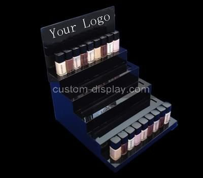 blue acrylic cosmetic display