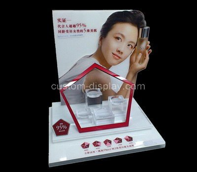 white lucite cosmetic retail display