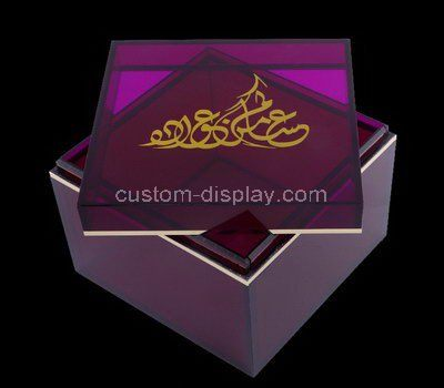 Square purple acrylic box with lid