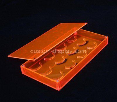 Clear orange acrylic fake lash box with lid