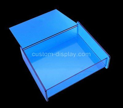 Oblate blue acrylic box with lid