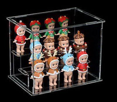 Clear acrylic 3 tiered small dolls display case