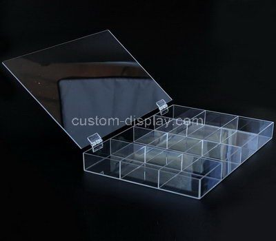 Small clear acrylic 12 grids box with lid