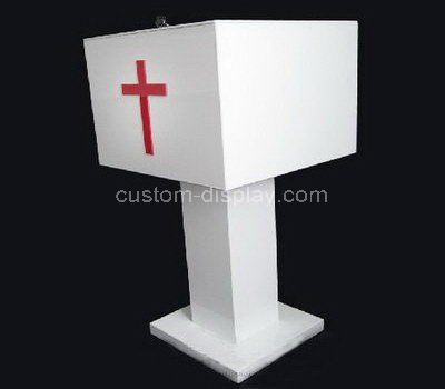 Custom white acrylic church donation box