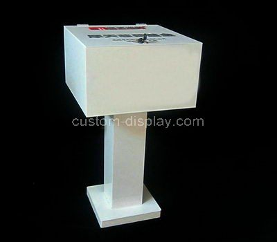 Custom white acrylic donation box
