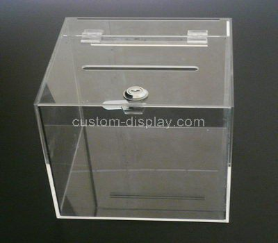 Custom clear acrylic donation box with lock