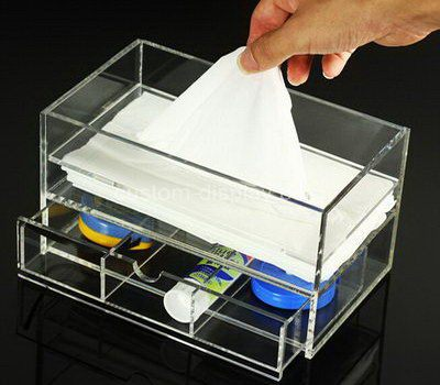 Custom clear acrylic tissue box with drawers