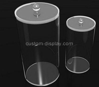 Custom round clear acrylic storage box with lid