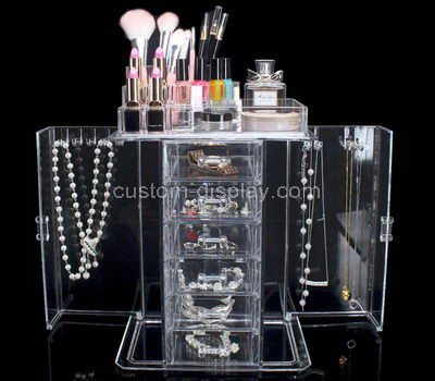 Custom clear acrylic makeup and jewelry organizers