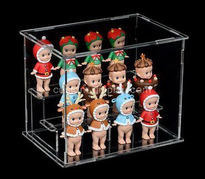 Custom design 3 tiered clear acrylic doll display case