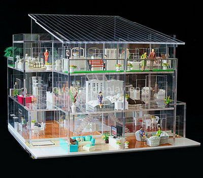 Custom design 3 tiered clear acrylic model house display case
