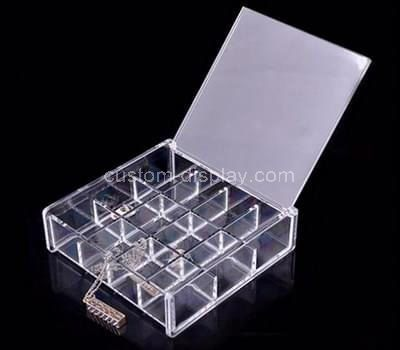 Custom clear acrylic jewellery organizer box with lid