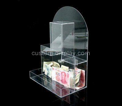 Custom design clear acrylic charity box