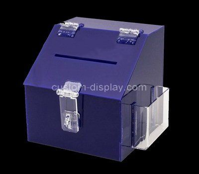 Custom purple acrylic donation box with brochure holder