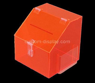 Custom orange acrylic donation box with brochure holder