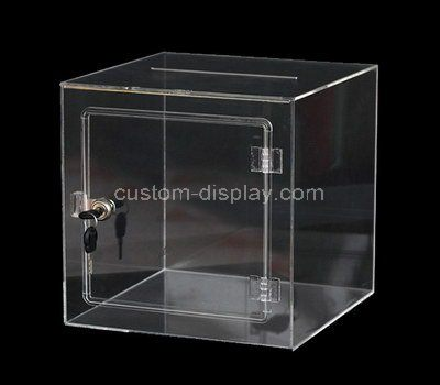 Custom clear acrylic locking donation box
