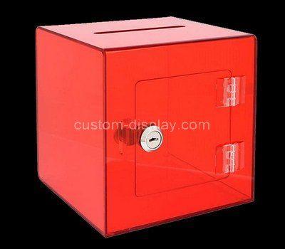 Custom red acrylic locking donation box