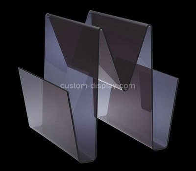 Custom w shape black acrylic magazine holders