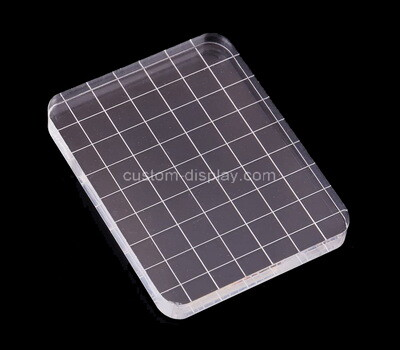 Custom square acrylic stamp block with grids lines
