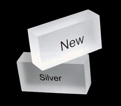Custom white acrylic display sign block