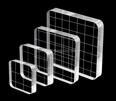 Custom acrylic stamping block with grids lines