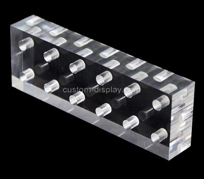 Custom clear plexiglass display block with holes