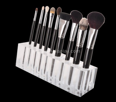 Custom clear lucite makeup brushes display block