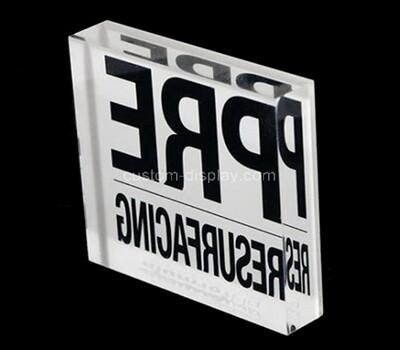 Custom plexiglass brand sign block