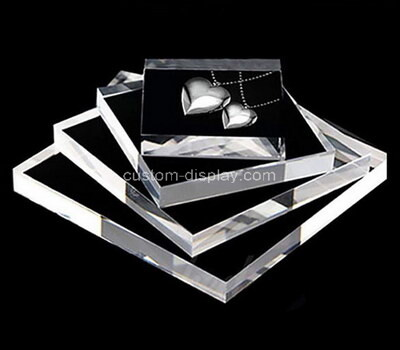 Custom laser cutting clear plexiglass jewelry display block