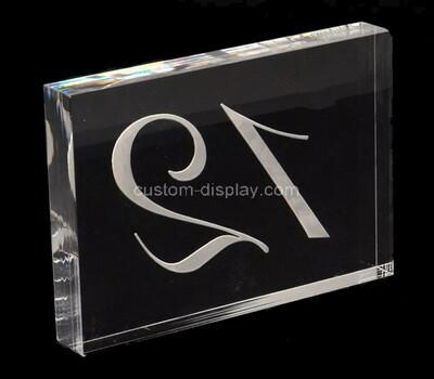 Custom clear acrylic numbler sign block