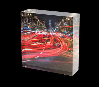 Custom laser cut plexiglass UV printing photo block