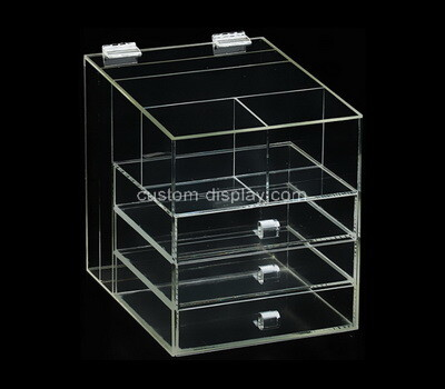 Custom clear acrylic 3 drawers organiser box
