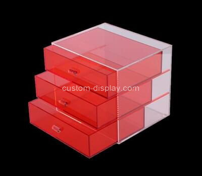Custom red acrylic 3 drawers box