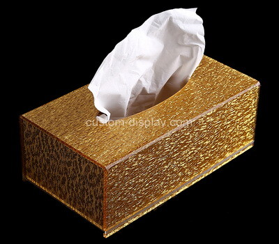 Custom gold plexiglass tissue paper box
