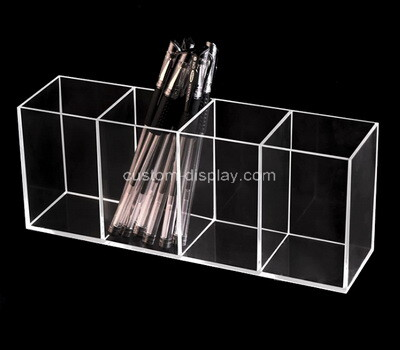 Custom 4 grids clear plexiglass pens holder boxes