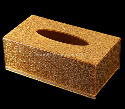 Custom golden plexiglass tissue paper box