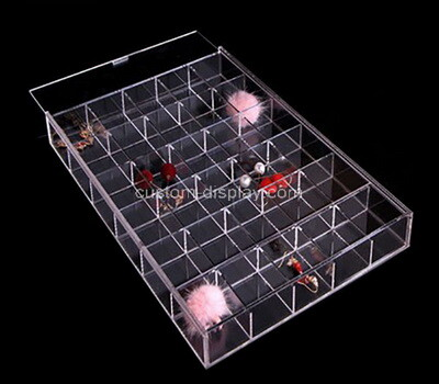 Custom 30 grids clear plexiglass sliding lid organizer box