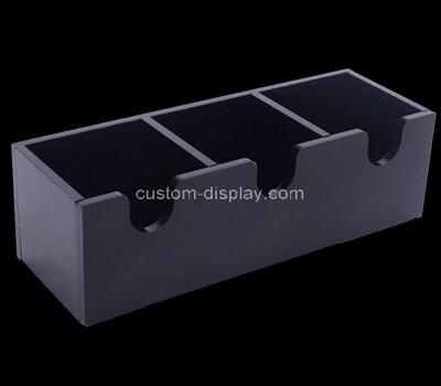 Custom 3 grids black plexiglass organizer box