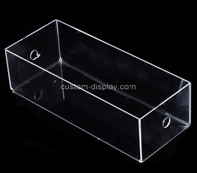 Custom clear plexiglass display case with holes