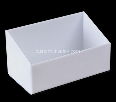Custom front slanted white plexiglass display case
