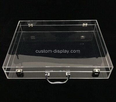 Custom clear plexiglass lockable display case with metal handle