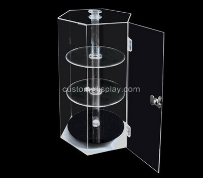 Custom 3 tiers hexagon acrylic display case