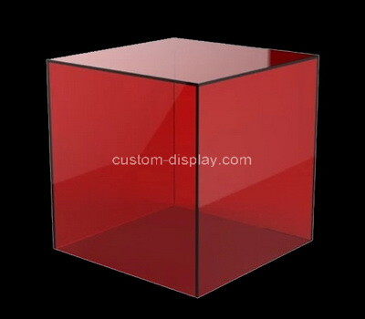 Custom square red acrylic display case