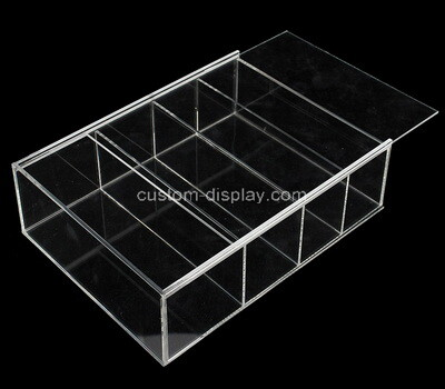 Custom clear acrylic 4 grids sliding lid display case