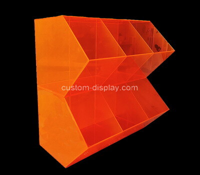 Custom 2 tiers 6 girds orange acrylic display case