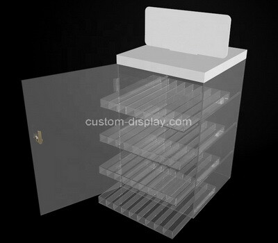 Custom acrylic 4 tiers cigarette display cabinet