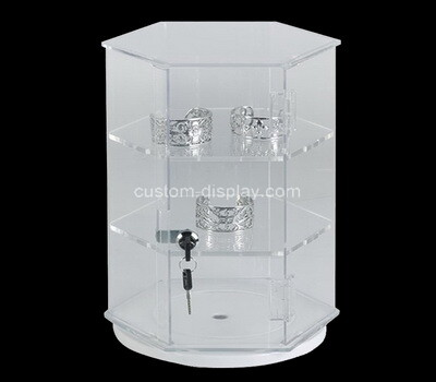 Custom rotating octangle acrylic 3 tiers locking display cabinet