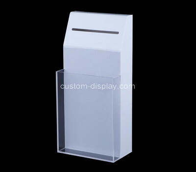 Custom tall perspex charity box with brochure holder